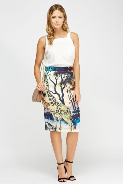 Contrast Printed Front Midi Skirt