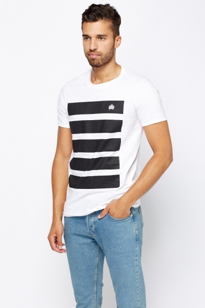 White Printed Front T-Shirt