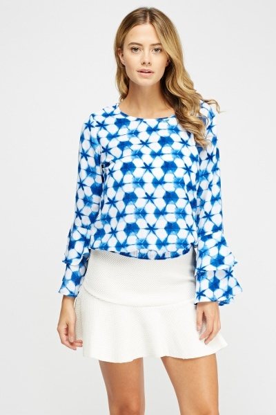 Flared Sleeve Kaleidoscope Print Top