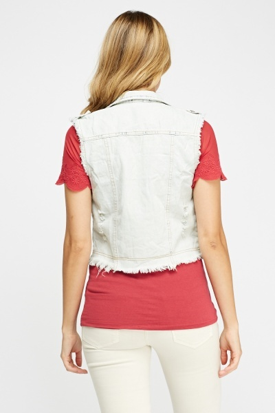 Fringed Trim Distress Denim Gilet