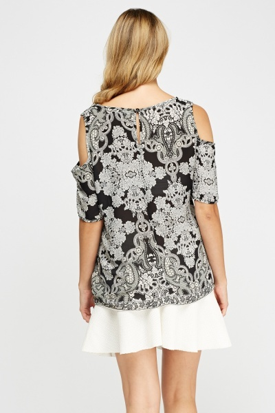 Mono Print Cold Shoulder Top