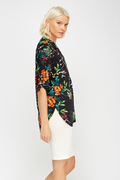 Collarless Floral Print Blouse