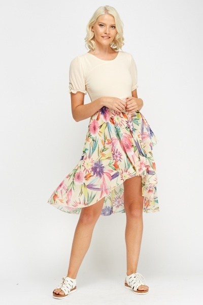Dip Hem Floral Bodice Dress