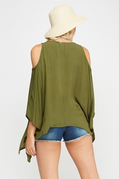 Embroidered Front Asymmetric Top