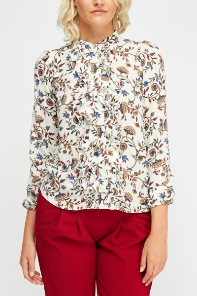 Frilled Panel Printed Blouse
