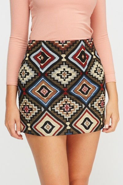 Geo Printed Mini Skirt