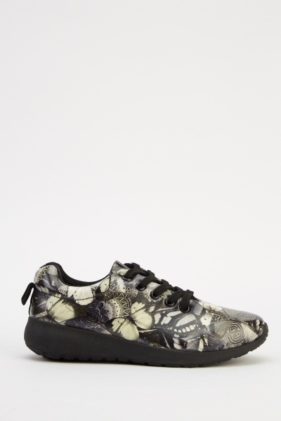 Butterfly Print Lace Up Trainers