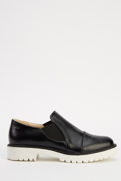 Contrast Faux Leather Shoes