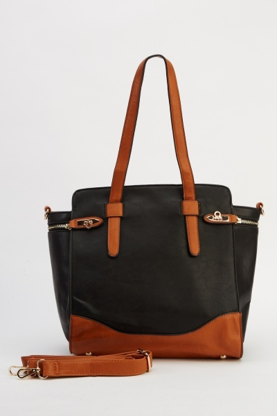 Detailed Two Tone Handbag