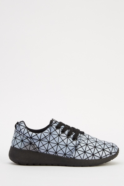 Geo Print Lace Up Trainers