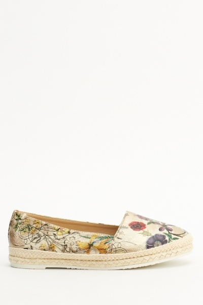 Mixed Print Espadrille Flat Shoes