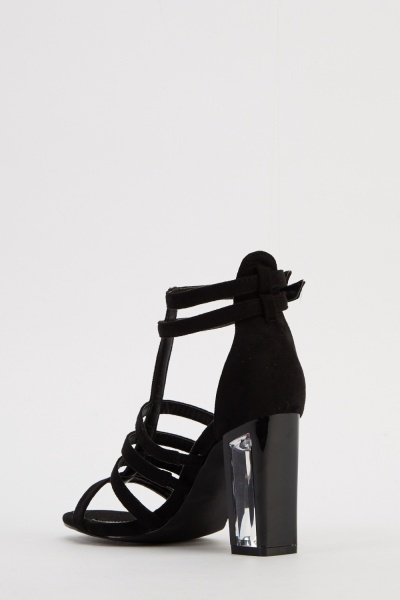 Perspex Strappy Heeled Sandals