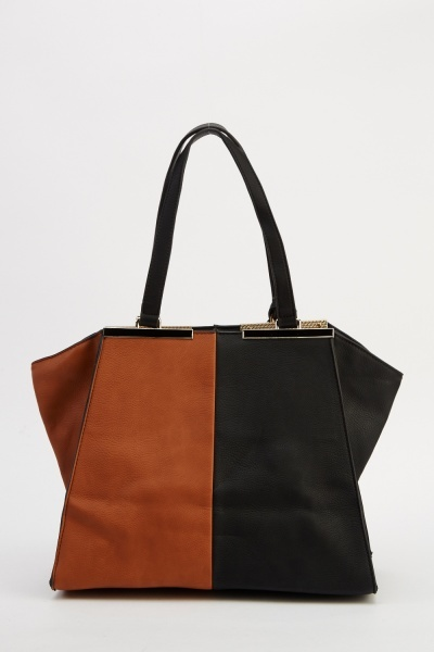 Two Tone Winged Faux Leather Bag