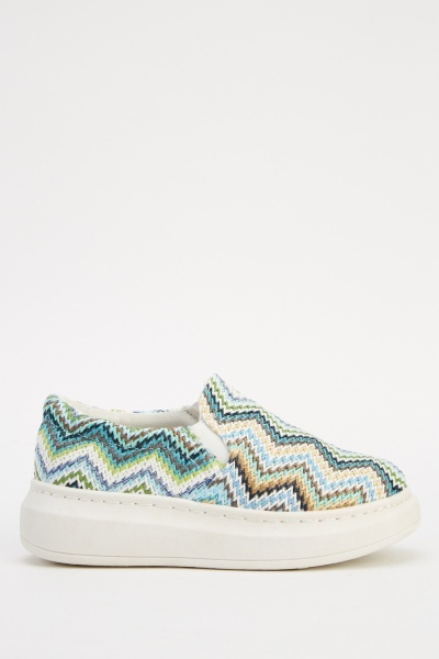 Zig Zag Flatformed Slip On Shoes