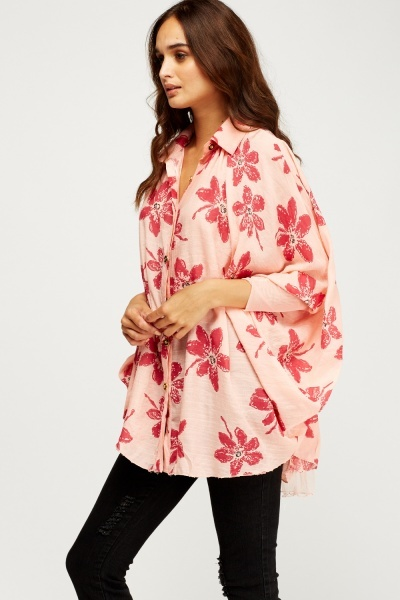 Batwing Flower Printed Top