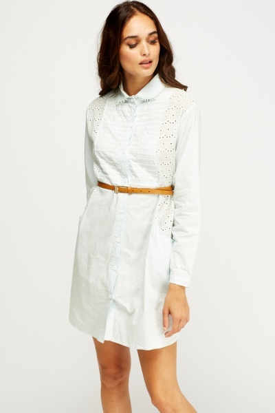 Crochet Insert Long Shirt Dress