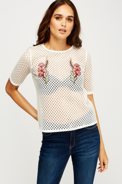 Embroidered Appliqué Mesh T-Shirt
