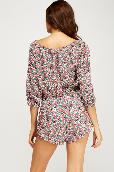 Floral Print Casual Playsuit