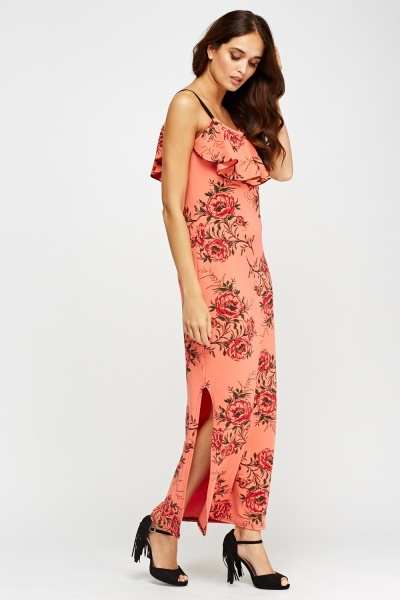 Frilled Flower Print Maxi Dress
