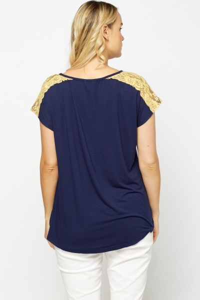 Lace Insert Navy Top
