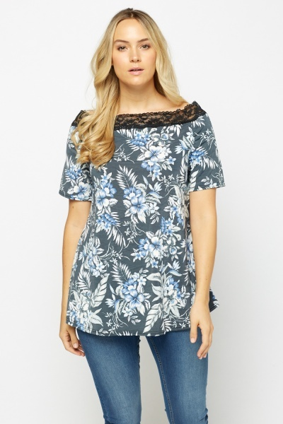 Lace Trim Printed Casual Top