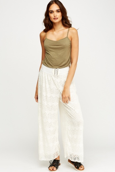 Top And Lace Overlay Trousers Set