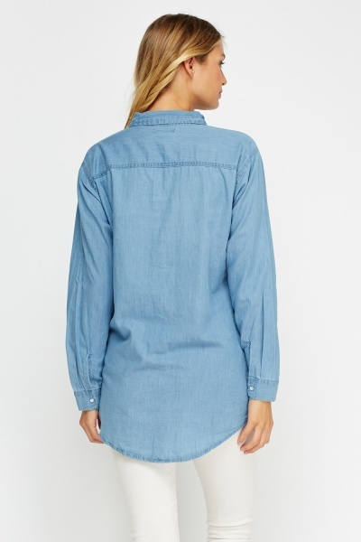 Blue Casual Denim Shirt