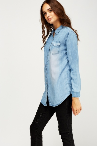 Blue Cotton Denim Shirt