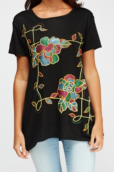 Embroidered Metallic Top