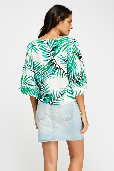 Flare Sleeve Leaf Print Top