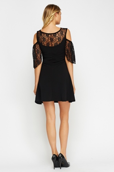 Lace Insert Cold Shoulder Swing Dress