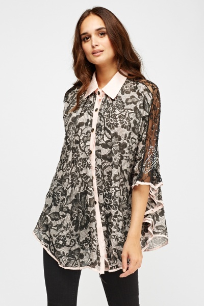 Lace Print Embellished Batwing Top