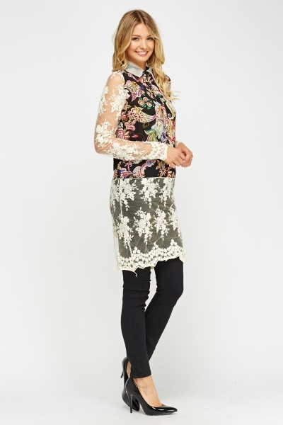 Mesh Insert Mix Print Long Top