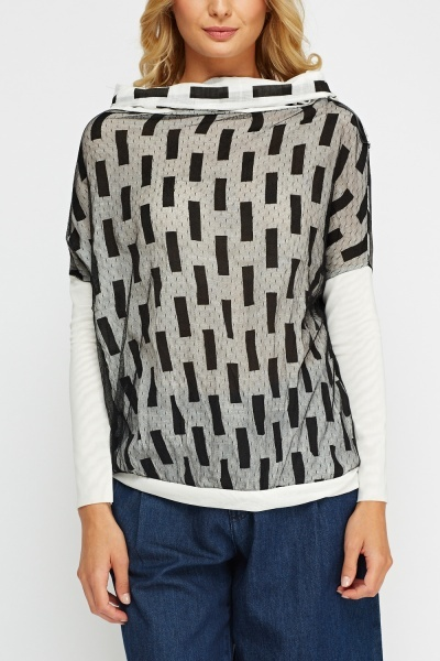 Mesh Overlay Cowl Neck Top