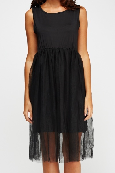Mesh Skirt Sleeveless Dress