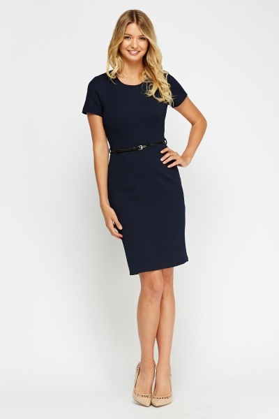 Navy Textured Belted Dress