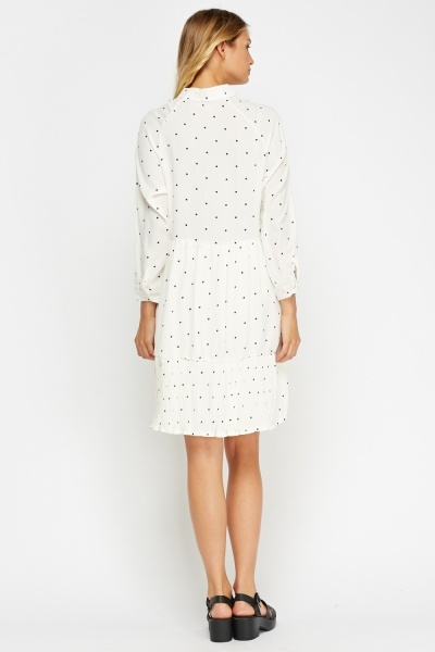 Polka Dot Pleated Hem Dress