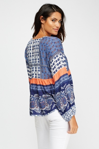 Printed Flare Sleeve Top