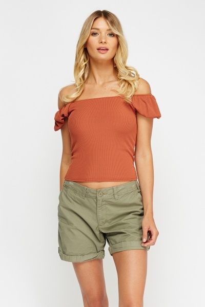 Ribbed Off Shoulder Top
