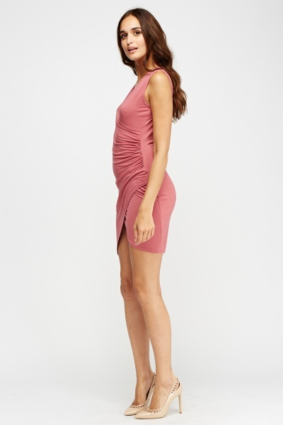 Ruched Wrapped Rose Dress