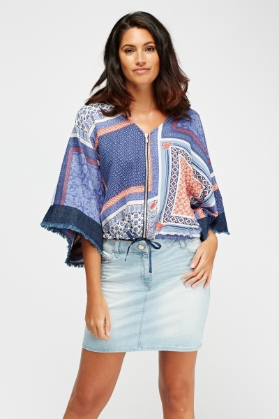 Zip Front Printed Top