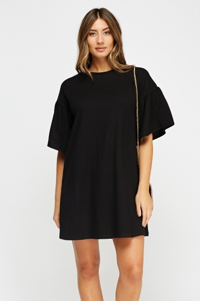 Flared Sleeve Textured Dress