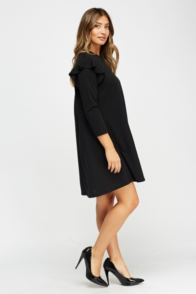 Frilled Black Shift Dress