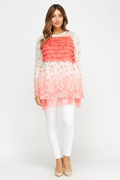 Frilled Front Printed Top
