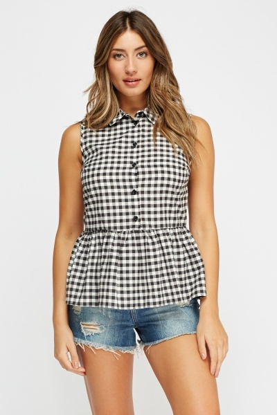 Peplum Checked Top