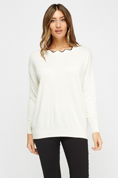 Scallop Neck Knitted Jumper
