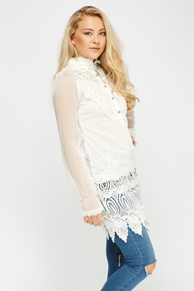 Crochet Contrast Button Neck Top