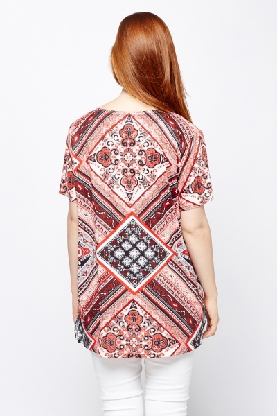 Mix Print Casual Top