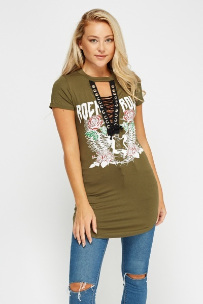 Printed Tie Up T-Shirt