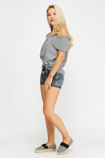 Washed Charcoal Denim Shorts